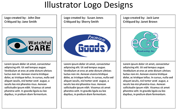 Sample layout of logos